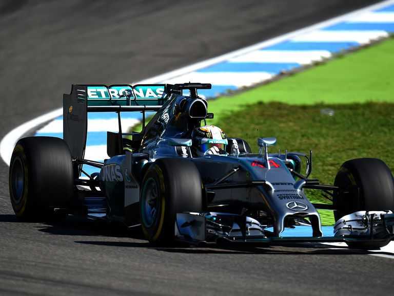 Lewis Hamilton during practice ahead as he edged out Rosberg