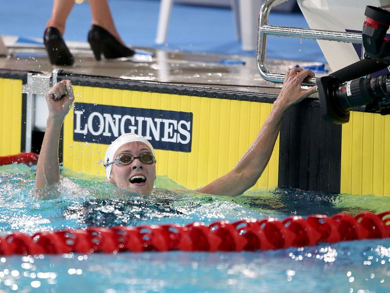 Jazz Carlin celebrates her victory in the Women's 800m Freestyle final