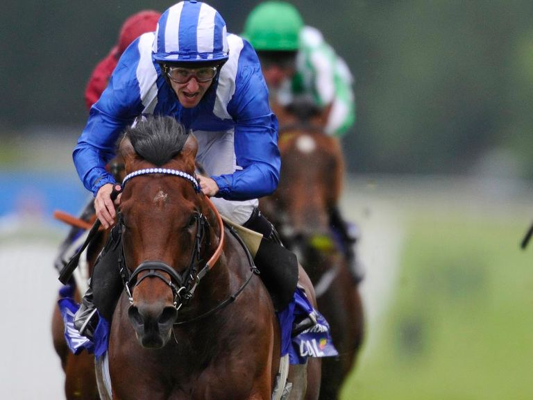 Paul Hanagan riding Mukhadram in The Coral Eclipse