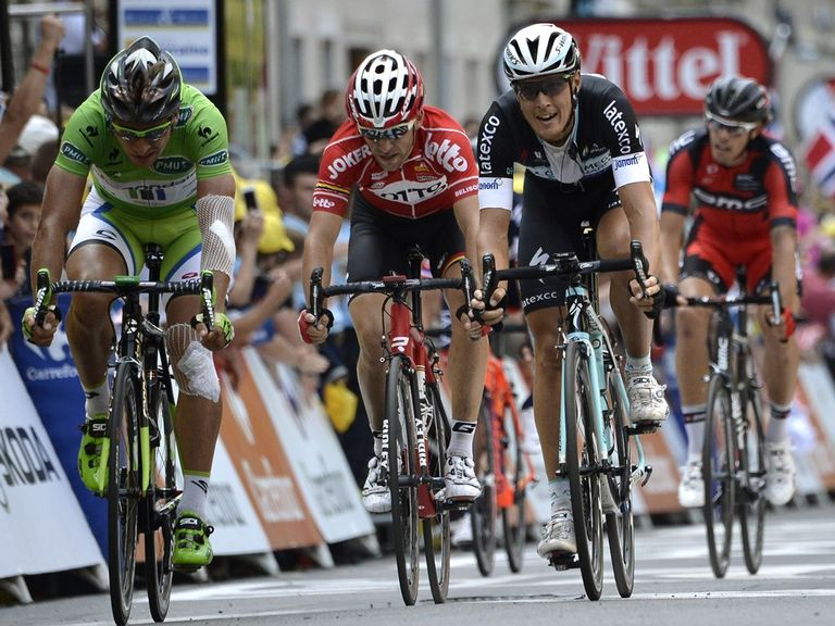 Matteo Trentin (right) beats Peter Sagan to victory