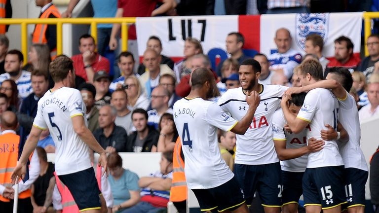 Nacer Chadli: Celebrates after giving Spurs the lead against QPR