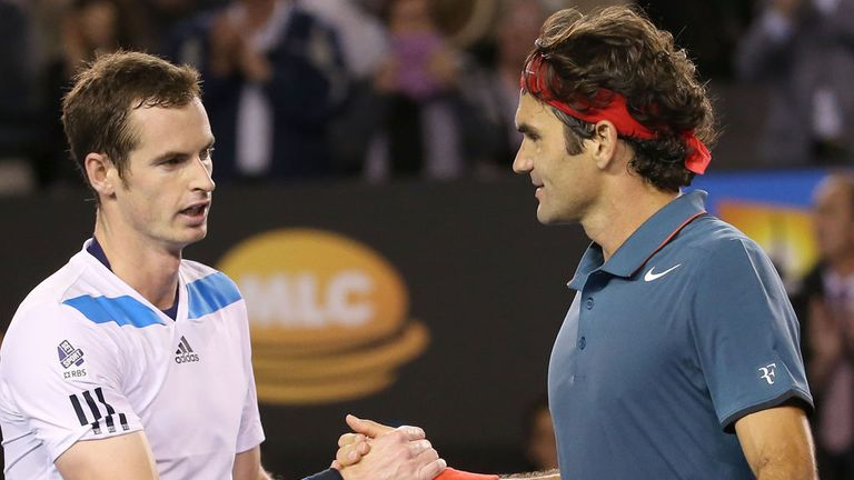 Andy Murray and Roger Federer shake hands after their most recent encounter in Melbourne at the start of 2014