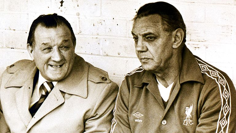 Bob Paisley (left) at Liverpool
