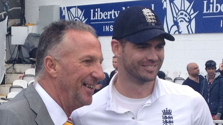 Sir Ian Botham and James Anderson after England's 3-1 series victory over India