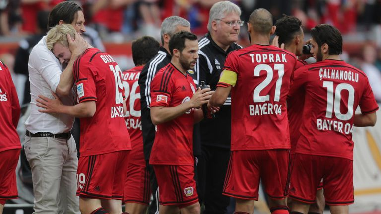Bayer Leverkusen celebrate Julian Brandt's goal
