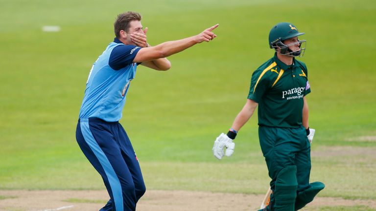 Ben Cotton celebrates a wicket during recent Royal London One-Day Cup clash