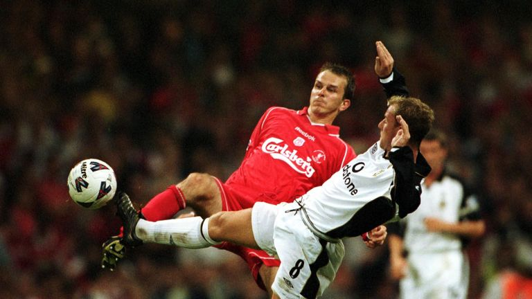 Didi Hamann in action for Liverpool during their 2001 Community Shield win over Manchester United