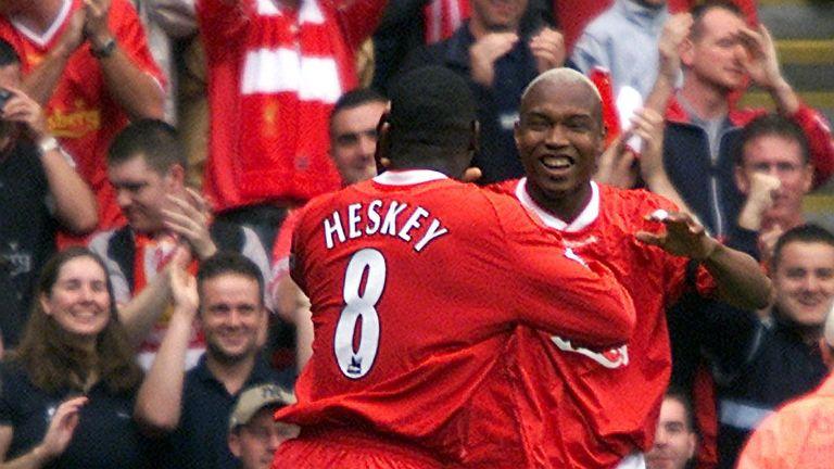 Diouf: Celebrates with team-mate Emile Heskey