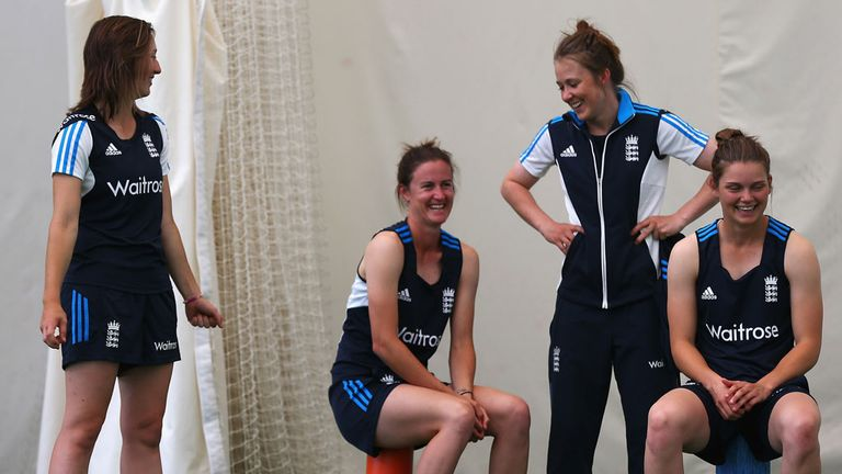 Fran Wilson, Lydia Greenway, Rebecca Grundy and Amy Jones share a joke during training