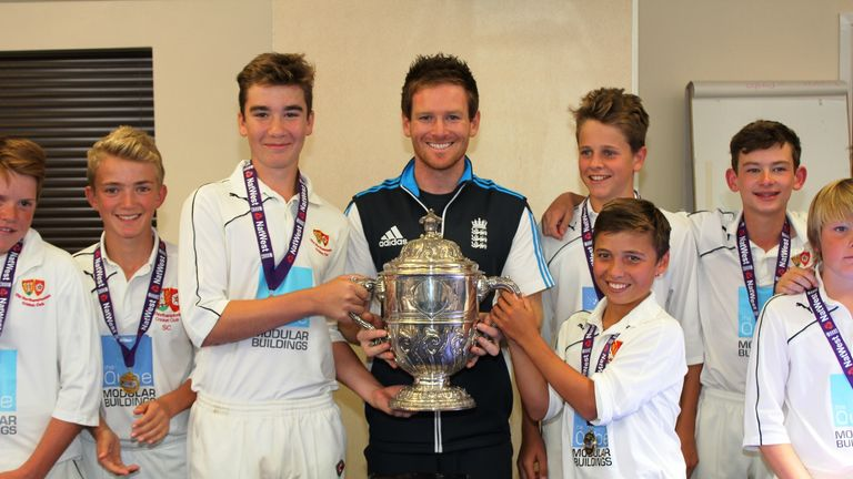 Eoin Morgan together with Old Northamptonians CC, winners of the NatWest U13 National Club Championship