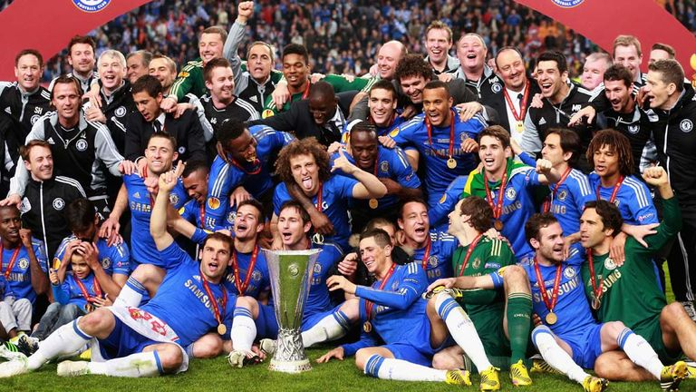 Chelsea Celebrate Beating Benfica In The Final Of 2013 Europa League