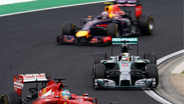 Fernando Alonso, Lewis Hamilton and Daniel Ricciardo battled for victory in Hungary with the Red Bull coming out on top