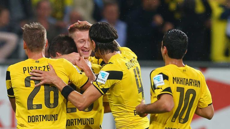 Marco Reus of Borussia Dortmund congratulates Sokratis Papastathopoulos on his goal