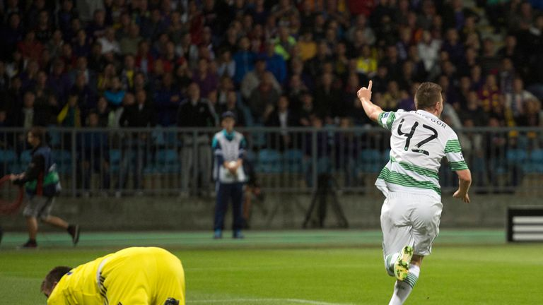 Celtic youngster Callum McGregor celebrates after opening the scoring against Maribor