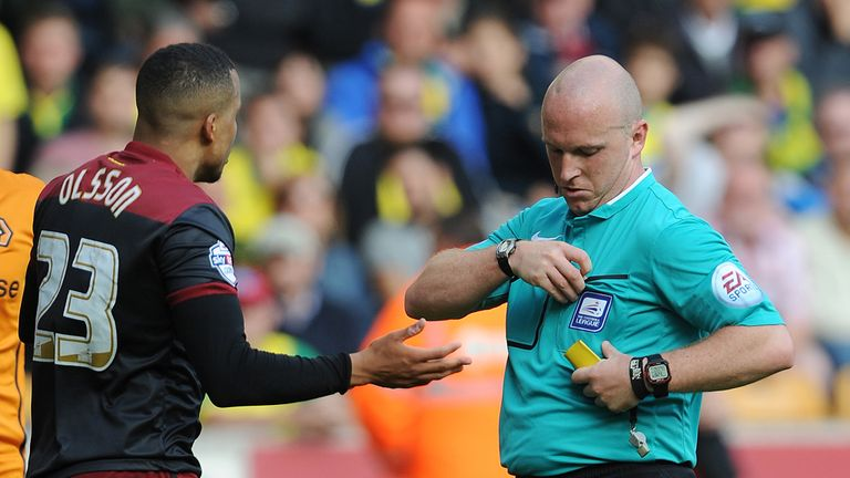 Martin Olsson: Sent-off by referee Simon Hooper