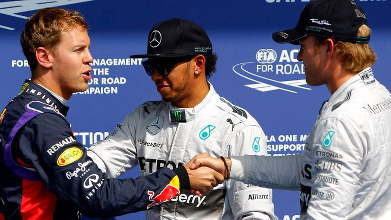 The top three qualifiers at Spa: Vettel, Hamilton and pole-sitter Rosberg