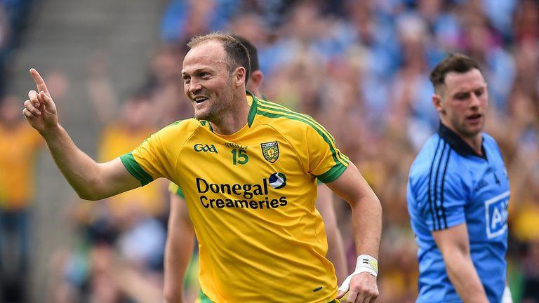 Colm McFadden celebrates after scoring Donegal's third goal against Dublin