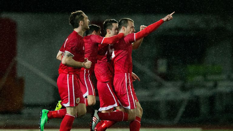 Roy Chipolina of Gibraltar celebrated scoring his team's first official UEFA goal in March