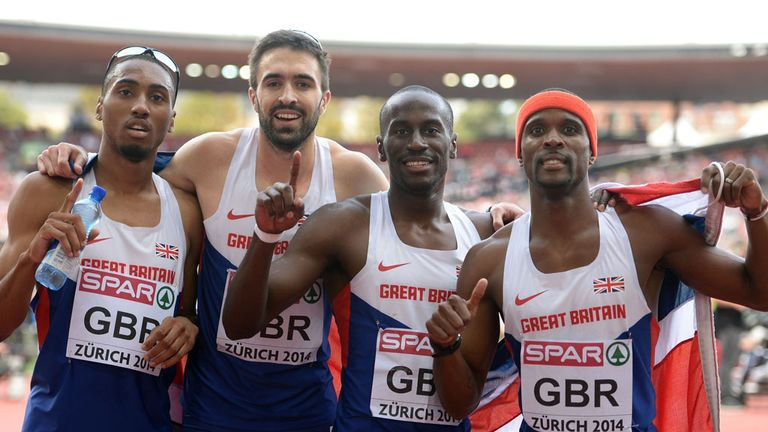 Great Britain's men's 4x400m relay quartet celebrate gold at the European Championships