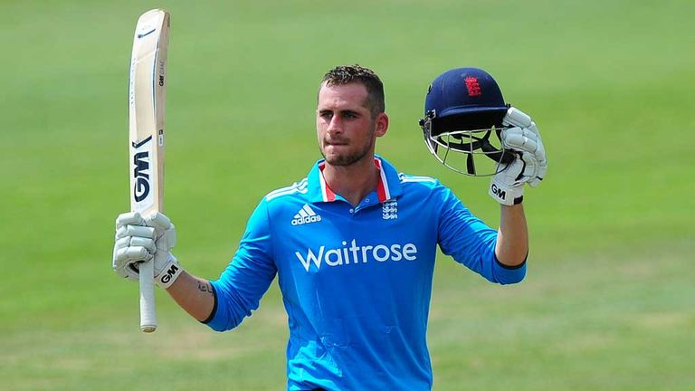 Alex Hales celebrates his century at Taunton