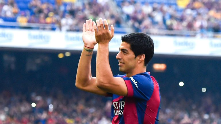 Luis Suarez made his first Barcelona appearance against Club Leon
