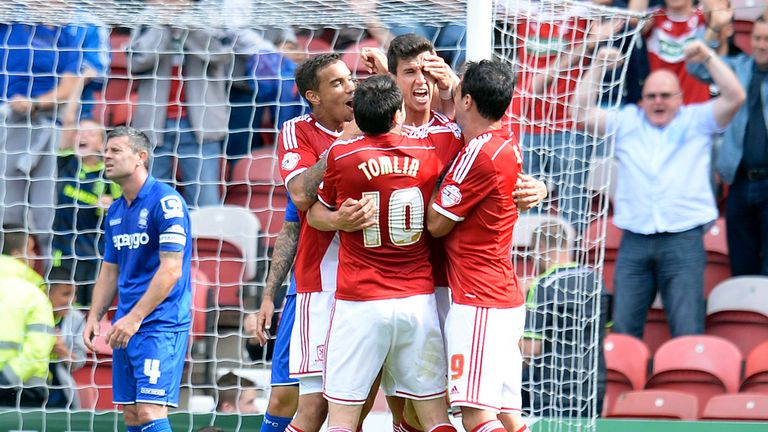 Daniel Ayala: Mobbed after scoring Middlesbrough's opener