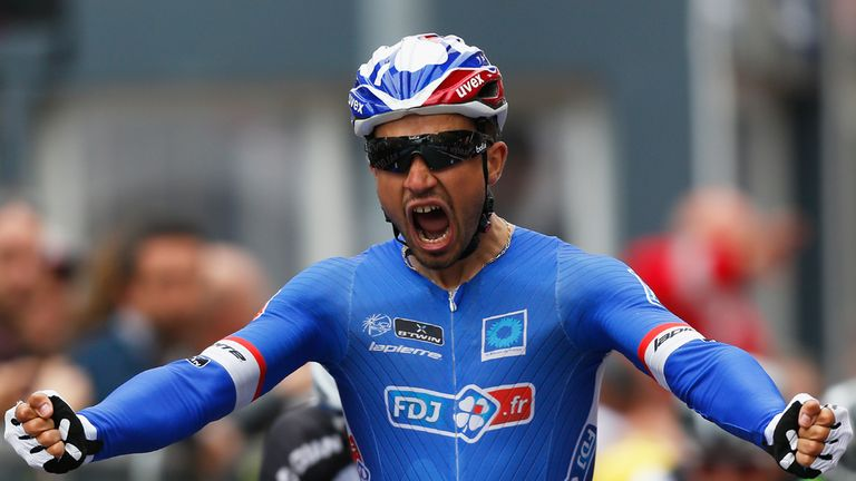 Bouhanni celebrates his victory in Belgium