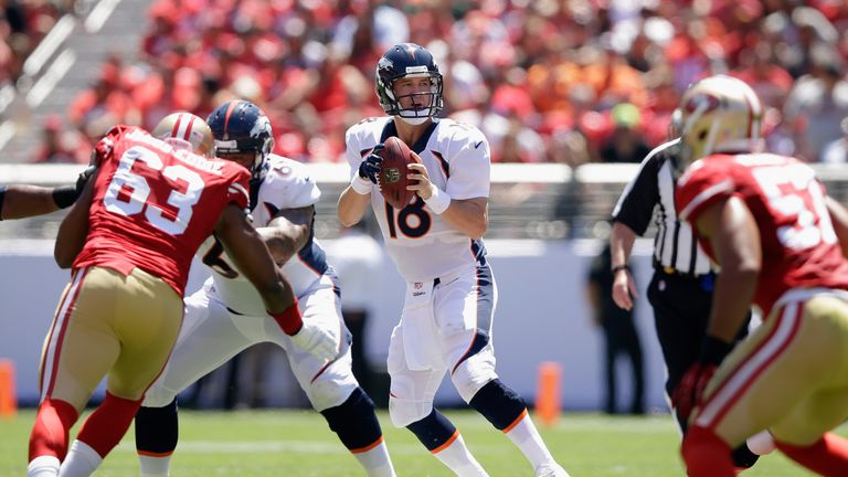 Peyton Manning: Cmpleted 12-of-14 passes for 102 yards