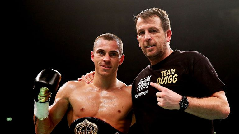 Joe Gallagher (R) has told Carl Frampton to stand and face Scott Quigg