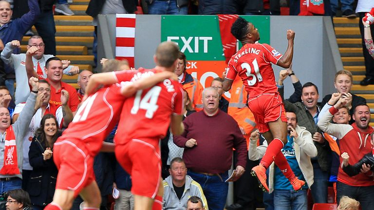 Raheem Sterling: Celebrates Liverpool's opener against Southampton