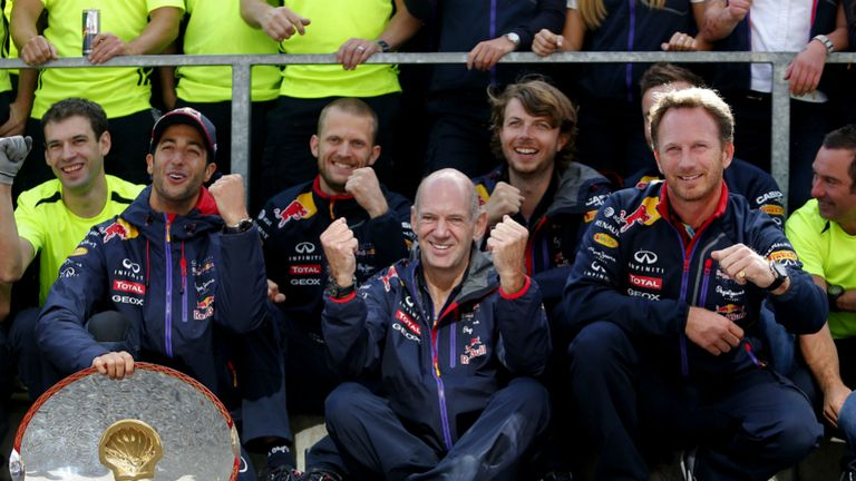 Daniel Ricciardo celebrates Belgian GP win with Adrian Newey and Christian Horner