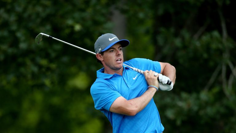 Rory McIlroy hits his tee shot on the 11th hole during the third round of the 96th PGA Championship