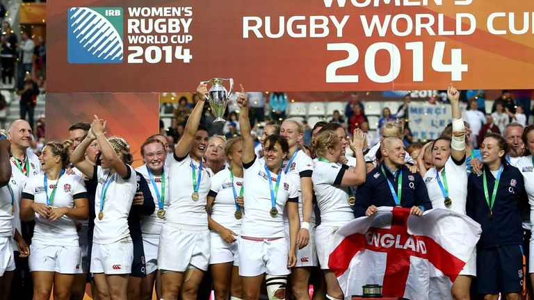 England celebrate with the Rugby World Cup trophy
