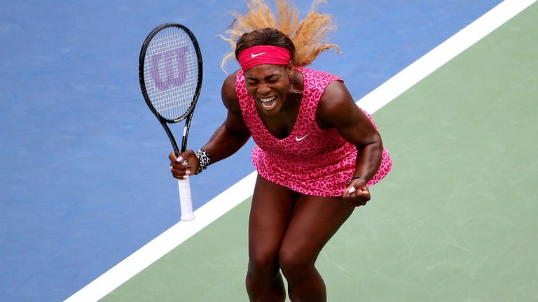 Serena Williams celebrates after defeating Varvara Lepchenko