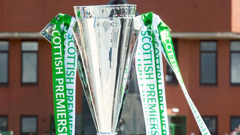 Scottish Premiership trophy outside Celtic Park