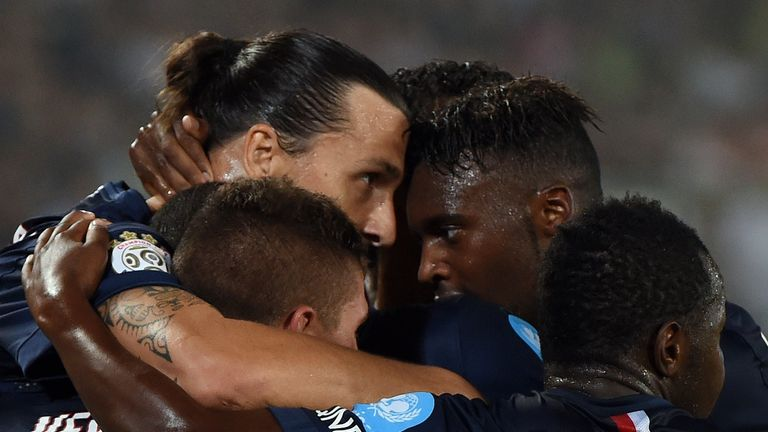Ibrahimovic: Celebrates with PSG team-mates