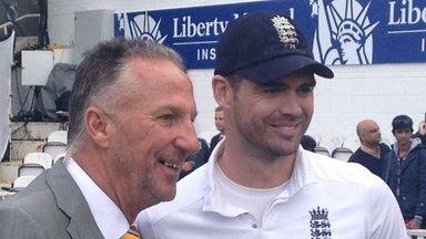 Sir Ian Botham and James Anderson after England
