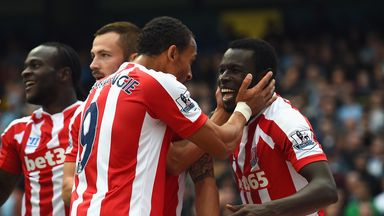 Mame Biram Diouf: Celebrates his goal for Stoke