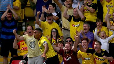 WATFORD, ENGLAND - AUGUST 09:  Troy Deeney of Watford celebrates in front of fans after scoring the opening goal during the Sky Bet Championship match betw