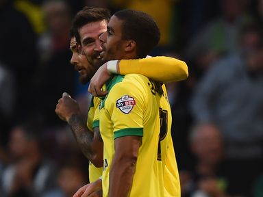 Lewis Grabban of Norwich City celebrates his goal against Blackburn