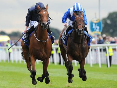 Tapestry (left) beats Taghrooda to win the Darley Yorkshire Oaks
