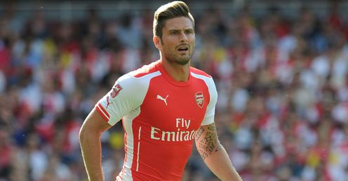 Olivier Giroud in action against Monaco at the Emirates