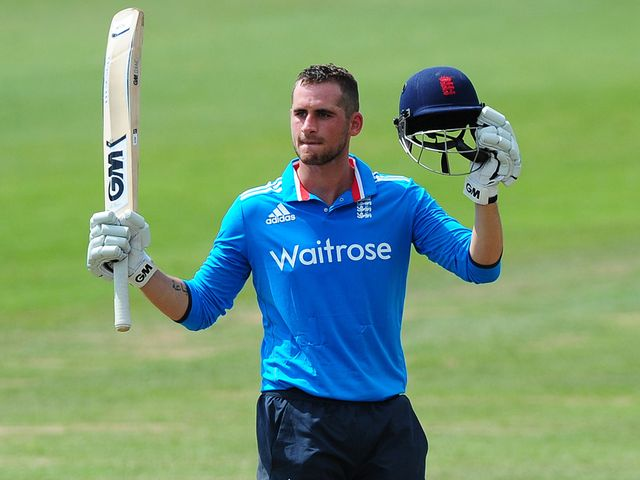 Alex Hales of England Lions celebrates after reaching his century