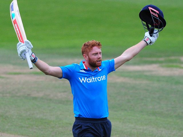 Jonny Bairstow of England Lions celebrates reaching his century