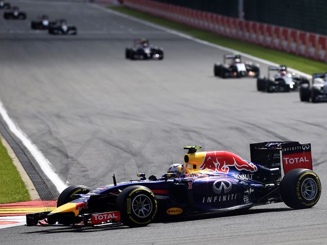 Daniel Ricciardo en route to victory in his Red Bull