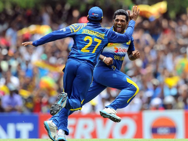 Seekkuge Prasanna celebrates after dismissing Shahid Afridi