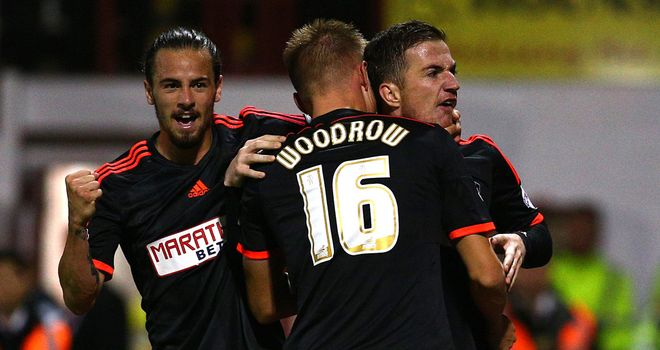 McCormack: Celebrates goal with Fulham team-mates