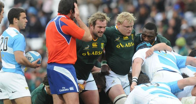 Bok front row had a torrid time against the Pumas