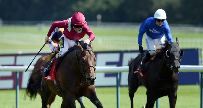 Amralah and Joe Fanning (centre) win the Betfred Rose of Lancaster Stakes at Haydock Park