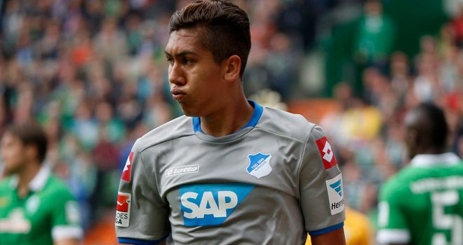 Firmino celebrates after scoring Hoffenheim's first goal